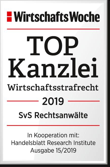 TOPKanzlei Wirtschaftsstrafrecht 2019 SvS Rechtsanwaelte